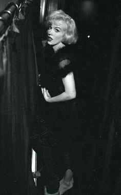 "Marilyn Monroe on the set of ""Some Like It Hot"", 1958.  From the Pinterest board of George Vreeland Hill."