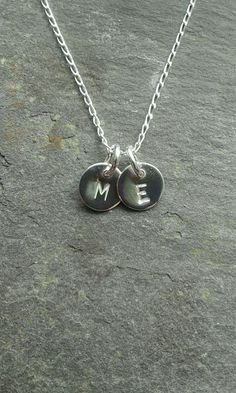 2- Handmade 925 Sterling Silver Personalised Initial Necklace (x2 Disc&18 Chain)