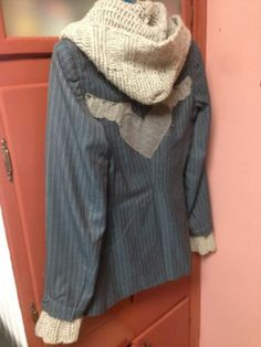 Upcycled Blazer with Knitted Hood and Cuffs | eBay