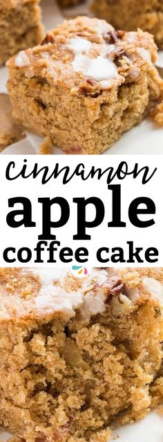 This is an easy apple coffee cake recipe made a little healthy by using less sugar and less butter than regular cake recipes. It's also made with whole wheat flour for an extra fiber boost! All the chopped fresh apple keeps the inside moist. This is the perfect recipe for fall baking, everybody will love this for a decadent autumn breakfast or brunch. The cake is deliciously flavored with cinnamon - a favorite for the holiday season, Thanksgiving or Christmas brunches! | #apple #recipe #fall