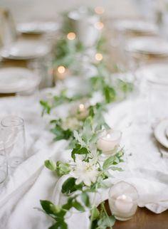simple + sweet ivy table runner   via: once wed