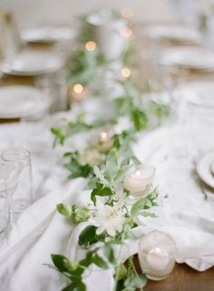 simple + sweet ivy table runner | via: once wed
