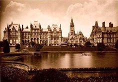 The garden front of the Waterhouse Hall about 1880 showing the main block on the left, the family wing on the right, and the clock tower of the chapel between them