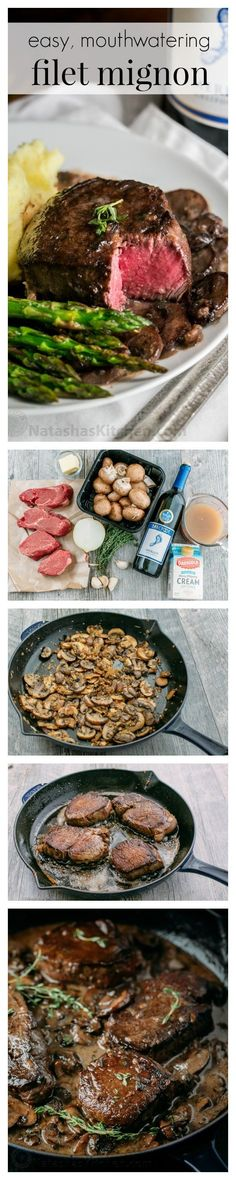 An easy, excellent recipe for filet mignon. The mushroom wine sauce is mouthwate… An easy, excellent recipe for filet mignon. The mushroom wine sauce is mouthwatering and tastes gourmet. This filet mignon recipe is perfect for any occasion! Meat Recipes, Cooking Recipes, Healthy Recipes, Recipes Dinner, Recipies, Romantic Dinner Recipes, Romantic Meals, Dinner Entrees, Paleo Dinner