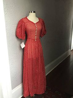 84b33237c8 30 s Vintage Red Polka Dot Sweetheart Gown Dress Gown Dress