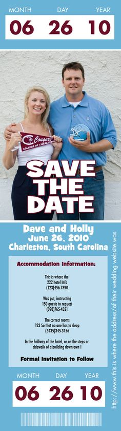 I really like the idea of a football ticket save the date!