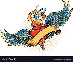 Heart and Wings Tattoo Designs Maori Designs, Free Tattoo Designs, Wing Tattoo Designs, Doodle Designs, Heart With Wings Tattoo, Sacred Heart Tattoos, Heart Wings, Design Poster, Art Design