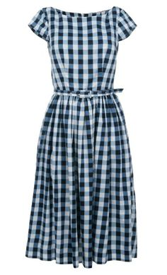 Love the boatneck on this gingham dress.