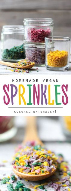 Homemade vegan sprinkles made from coconut and colored completely naturally. This easy recipe has all your funfetti needs covered without any sugar!