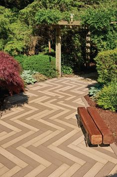 Bring the look of hardwood floors outside with the Borealis slab! Backyard Walkway, Backyard Patio Designs, Backyard Landscaping, Concrete Paving Slabs, Patio Slabs, Wood Planks, Natural Wood, Deck Staining, Landscape