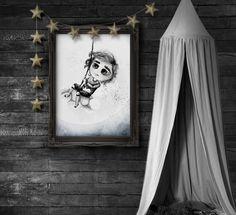 black wall, black decor, black decoration for kids, kids prints, kids print, Adi, anulaki by mojo graffi, plakaty dla dzieci, dziecięce plakaty, luxury kids decor, exclusive goods for kids,