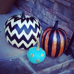 #paintedpumpkins #chevron #halloween #diy #fall #happyhalloween #craft #pumpkin #party #decoration #decorate #unique #fun #kids #children