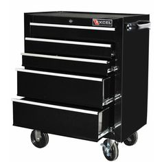 This 26-inch steel roller cabinet has five ball bearing slide drawers, internal locking mechanism, EVA drawer liners, rubber top mat, full length aluminum drawer pulls, industrial powdercoat paint finish, and 5x1-inch casters.