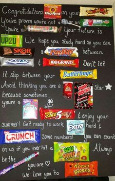 10 awesome graduation gift ideas! Use candy to write a congratulations card for your graduate High School Grad Gifts, High School Graduation Gifts, Unique Graduation Gifts, Graduation Diy, College Gifts, Graduation Quotes, Candy Bar Posters, Money Origami, Gift Money