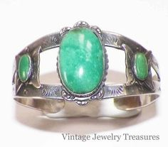 Vintage Southwest Sterling Silver Green Turquoise Butterfly Cuff Bracelet No RESERVE 99 cents