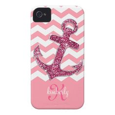 Girly Pink Glitter Anchor Chevron Personalized Case-Mate iPhone 4 Case
