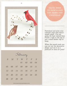 Free Printable February 2012 Calendar page - Available on Creature Comforts Blog