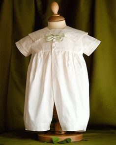 Angels and Fishes Michael Pure Silk Christening Romper with Choice of Bow Tie