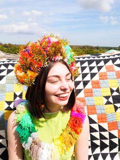 Multicolour Tinsel Festival Pom Pom Headband by FatPomPoms on Etsy