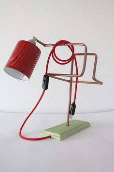 Lamp Made With Waste Materials. The Structure Was Obtained By Recovering  Copper Tube Used For