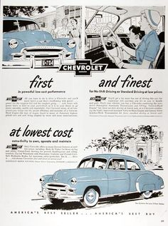 1950 Chevrolet Styleline Deluxe First and Finest Vintage Ad Retro Advertising, Vintage Advertisements, Vintage Ads, General Motors Cars, Diesel, Ad Car, American Classic Cars, Car Posters, Cool Cars