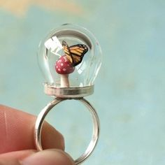 Tiny Woodland Terrarium Toadstool Mushroom and Monarch Butterfly Ring from WoodlandBelle at Etsy