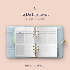 The Rain Journal Printable To Do List Planners - have a look at our huge To Do List Planner Printable library. Find daily, weekly, monthly and yearly checklist, to do list for home, school and work. These are perfect for your binders such as filofax and kikki k.  #printableplanner #planners #printables #printableplanners To Do Lists Printable, Daily Planner Printable, Printables, Hourly Planner, Meal Planner, Fitness Planner, Workout Planner, Daily Organization, Business Planner