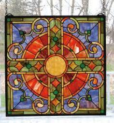 Meyda 98084 Tiffany Medieval Cross Stained Glass Window