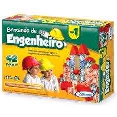Brincando de Engenheiro 42 Peças - Xalingo - Brinquedos Educativos | Casa da Educação - Blocos de empilhar
