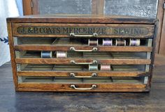 J. & P. Coates Antique Glass Front Spool Cabinet with Three Labels *