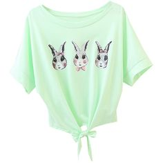 Green Three Rabbits Printed Bow Cute Womens Tee Shirt (€12) ❤ liked on Polyvore featuring tops, t-shirts, green, green top, bow t shirt, bow top, green tee and rabbit t shirt
