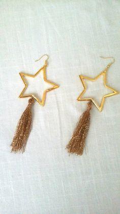 Long star tassel earrings/ethnic /boho /handmade/gold tone /ready to ship Tassel Earrings, Stud Earrings, Starry Eyed, Boho Fashion, Tassels, Ethnic, Ship, Stars, Gold