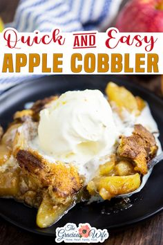 Easy Apple Cobbler recipe with a sweet soft cake topping over tart, buttery spiced apples. This delightful, sweet Fall apple treat will quickly become a family favorite. Imagine with me. Buttery cinnamon apples tucked under a soft cake cobbler with more cinnamon sugar sprinkled on top. The smell of cinnamon spices and sweet apples drifting through your cozy house. | The Gracious Wife @thegraciouswife #easyapplecobbler #applecobblerrecipes #fiveingredientdesserts #falldesserts…