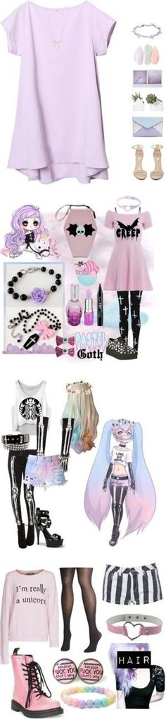 pastel goth by defective-boy on Polyvore featuring Mode, Jeffrey Campbell, Rebecca Minkoff, Kendra Scott, Wet Seal, AX Paris, Lime Crime, Hot Topic, NYX and T.U.K.