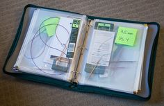 Great idea for circular needle storage: Office store zipper binder with plastic zipper pouches inside. Perfect!