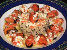 Ensalada de arroz salvaje con mejillones
