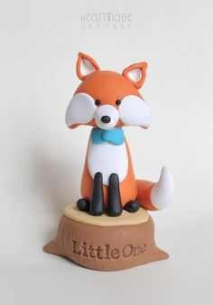 Fox on the Tree Stump woodland personalized clay cake topper and keepsake - baby shower, birthday