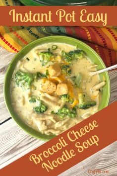 Who's up for a big bowl of easy Instant Pot Broccoli Cheese Noodle Soup on a cold day?? I know I am! My family always loves it when they get to come home a big pot of this comforting soup.