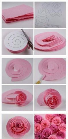 Cat's Wedding- How to make pretty rose wreath step by step DIY tutorial instructions Paper Flowers Diy, Felt Flowers, Flower Crafts, Fabric Flowers, Craft Flowers, Crepe Paper Roses, Rose Crafts, Pink Crafts, Tissue Flowers