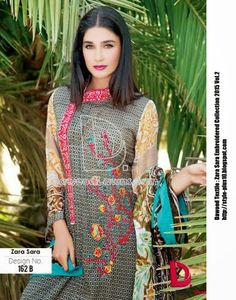 Design No. 162-B From Zara Sara Embroidered Lawn 2015 Vol.2 By Dawood Textile