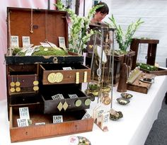 Lovely Craft show booth. Love the vintage travelling trunk display