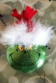 Grinch Ornament, Mr. Grinch, Christmas, The Grinch, Ornaments, Glitter…