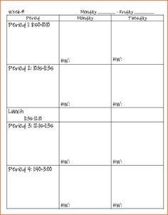 teacher daily schedule template