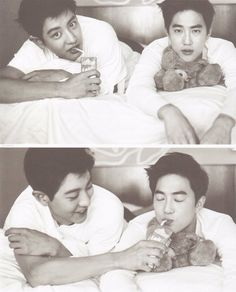 Chanyeol, Suho - 160921 Second official photobook 'Dear Happiness' - Credit: Zzarabii. K Pop, Exo Dear Happiness, Fanfiction, Dramas, 5 Years With Exo, Chanyeol Baekhyun, Exo Couple, Kim Minseok, Xiuchen