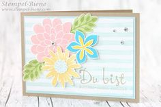 Stampin 'Up Flower Patch, summer card making, Stampin Up stamp Party, punch-bee, tinker Stampin Up brushstrokes, background paper