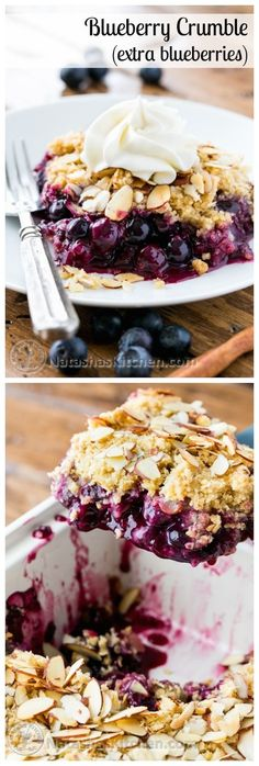 This blueberry crumble is a must-try recipe! Easy to make and absolutely delicious with layers of plump blueberries from @NatashasKitchen #giveaway #sponsored by #lecreuset by eddie