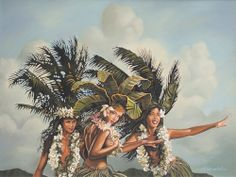 """Island Girls"" by #SurfArtist #RickRietveld. Painting includes beautiful frame selected especially for this piece."