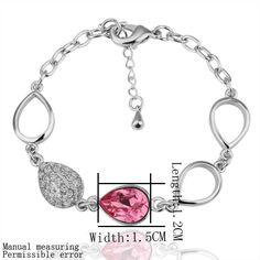 Cheap Silver Bracelet with Swarovski Elements Rose Crystal SWBL026 B14 [SKI451] - $28.00 - lucky brand , j.crew , lia sophia jewelry on sale !