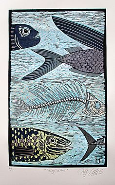Big Blue, linocut by Mariann Johansen Ellis, via Flickr