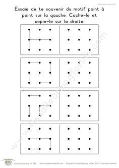 Dans les fiches de travail « Motifs point à point (3x3) » l'élève doit copier le design point-à-point dans la case vide.